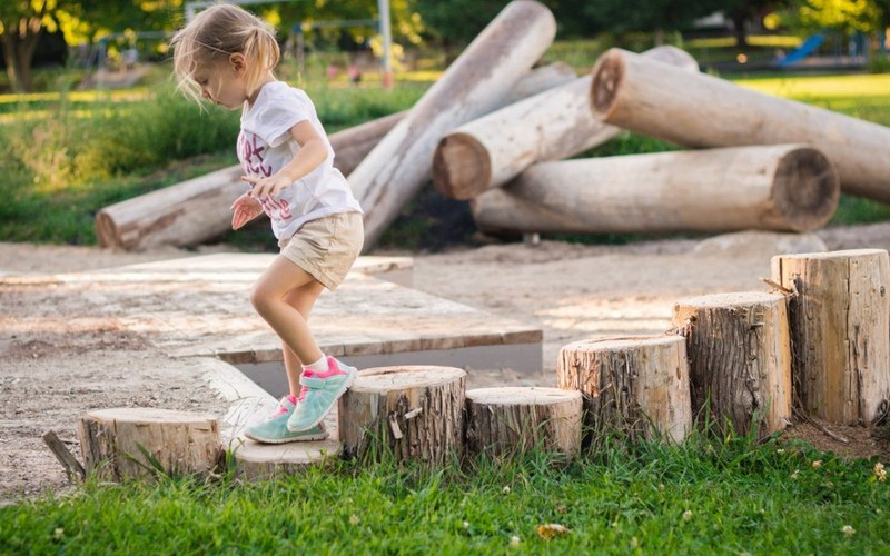 stepping and balancing logs