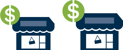 Illustration of a small business and a bigger business with dollar signs, indicating that businesses with higher capital value will have a higher rates increase.