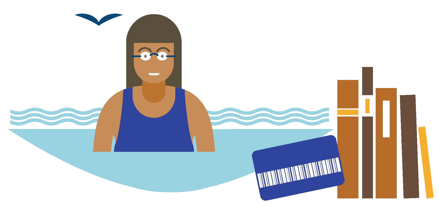 Illustration of a person swimming, a library card, and some library books.