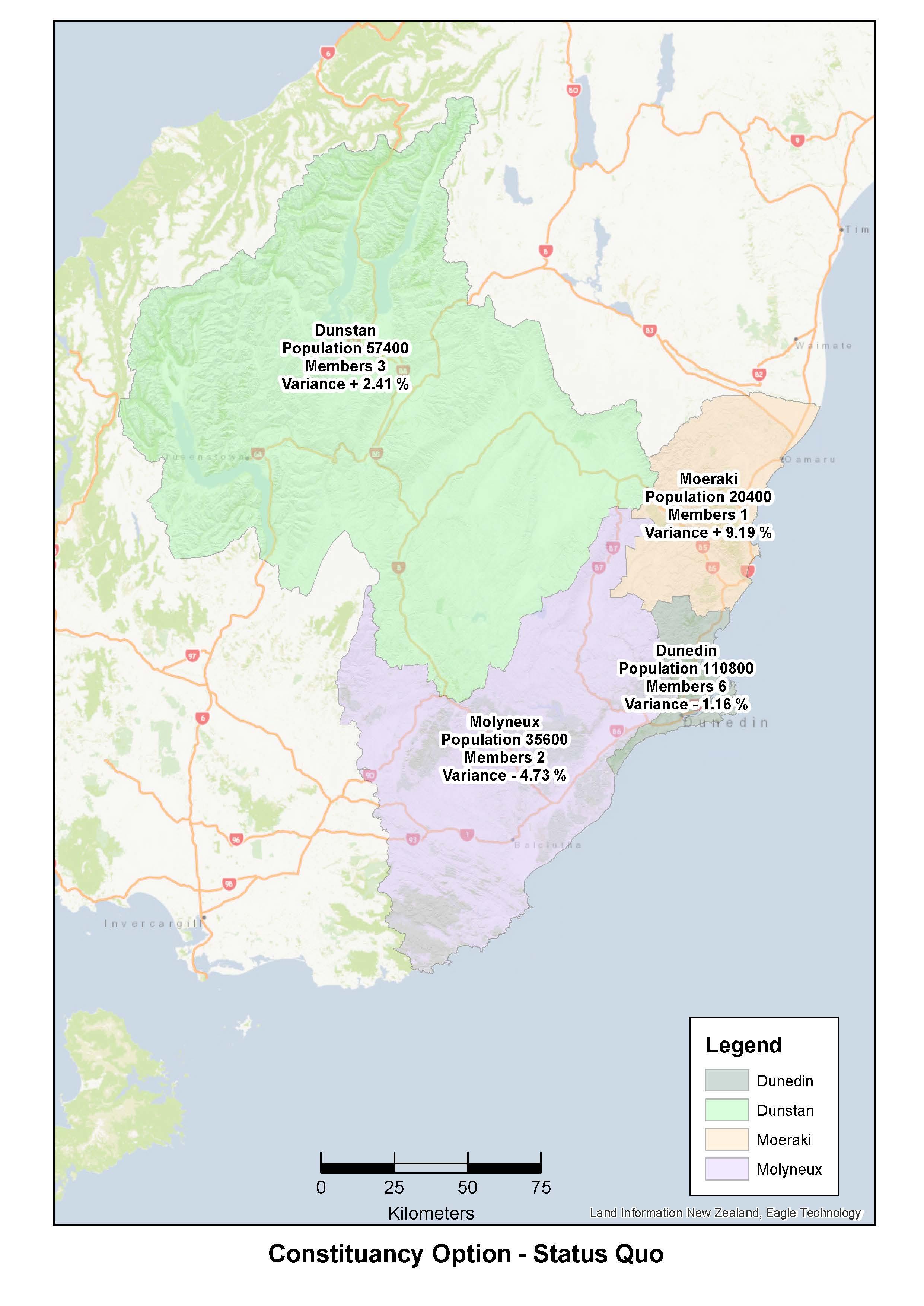 Otago constituencies   map   status quo   staff recommended   aug 18