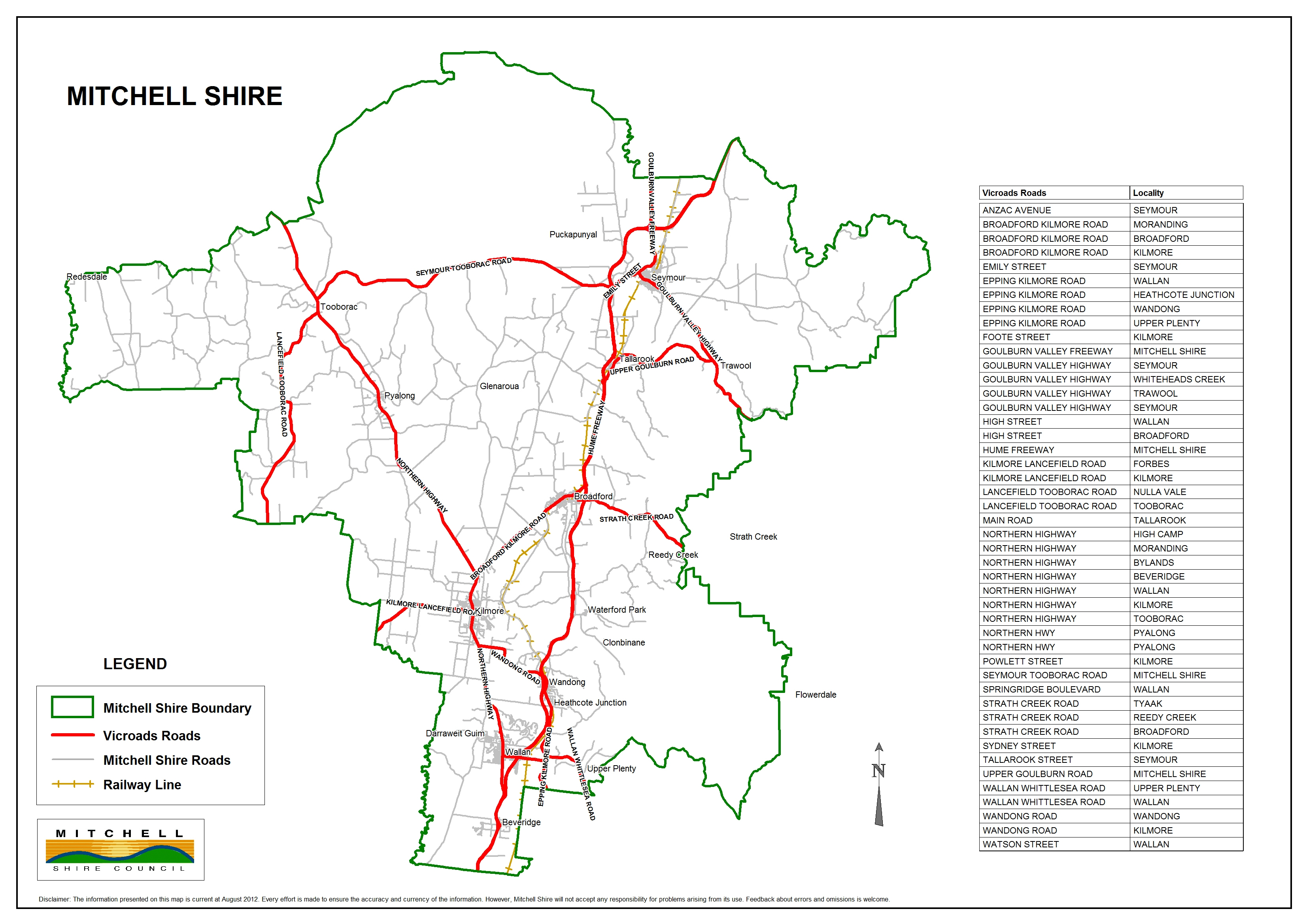 weve prepared a map which shows the road network in mitchell shire and which local roads we manage
