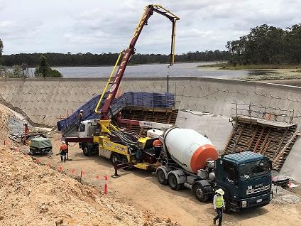 Sideling creek spillway concrete work