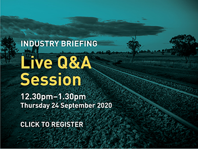 industry briefing live Q and A session, 12.30 to 1.30pm, Thursday 24 September 2020 - click this image to register
