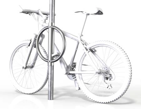 Image shows a drawing of a metal pole with a metal ring on it and a bike behind it