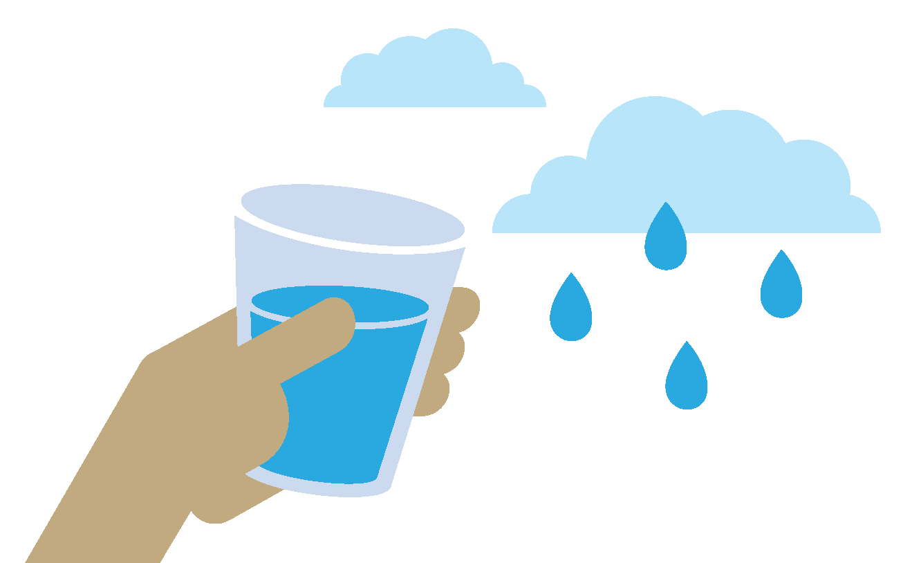 Illustration of a hand holding a half filled glass of water, with raindrops falling from a cloud above.