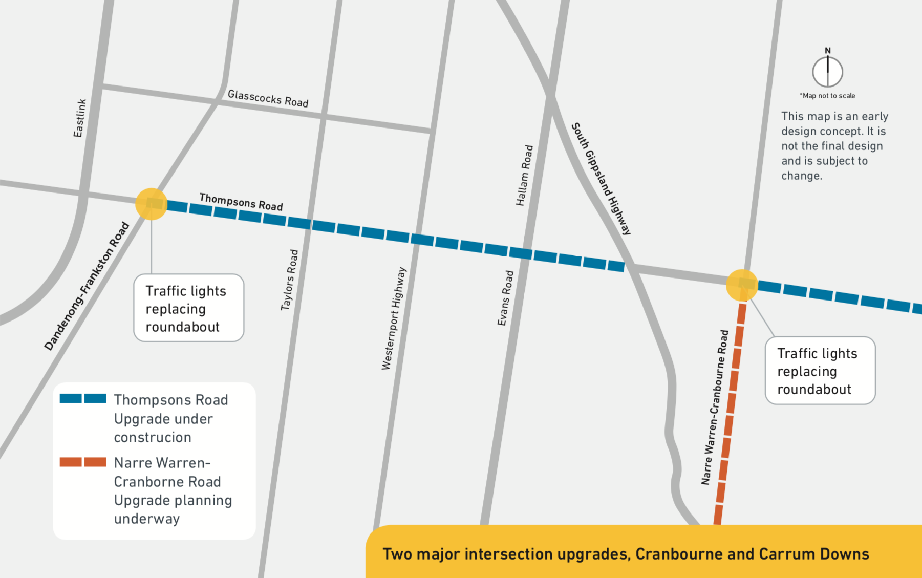 As part of the upgrade, we plan to: upgrade the existing roundabout with traffic lights at Dandenong- Frankston Road upgrade the existing roundabout with traffic lights at Narre Warren- Cranbourne Road.