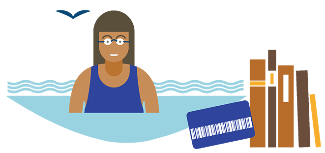 Illustration of a woman in the water, a membership card and books.