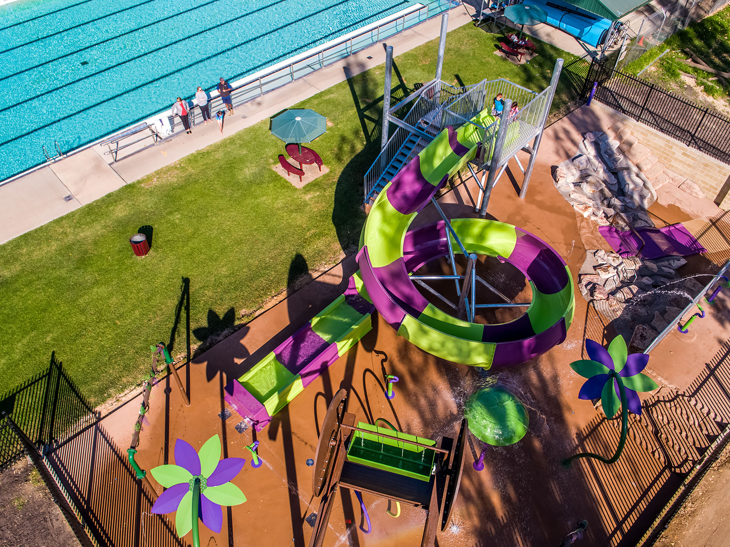 Water park drone aerial