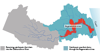Diagram showing the extent of the Ōtākaro/ Avon River catchment draining through the Regeneration Area