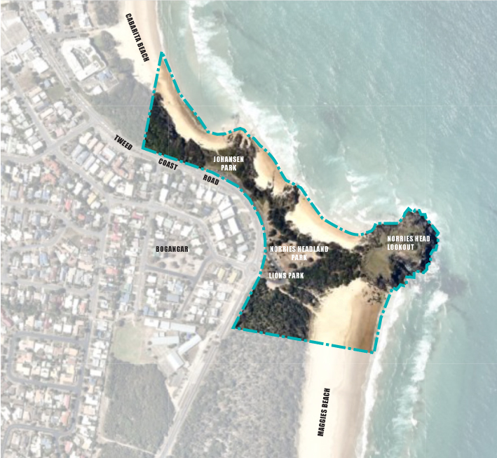 The Norries Headland Masterplan includes public open spaces at 4 locations: Johansen Park, Norries Headland Park, Norries Headland boardwalk and Lions Park
