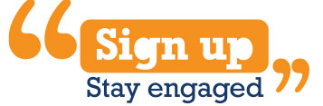 orange inverted commas with the words sign up stay engaged