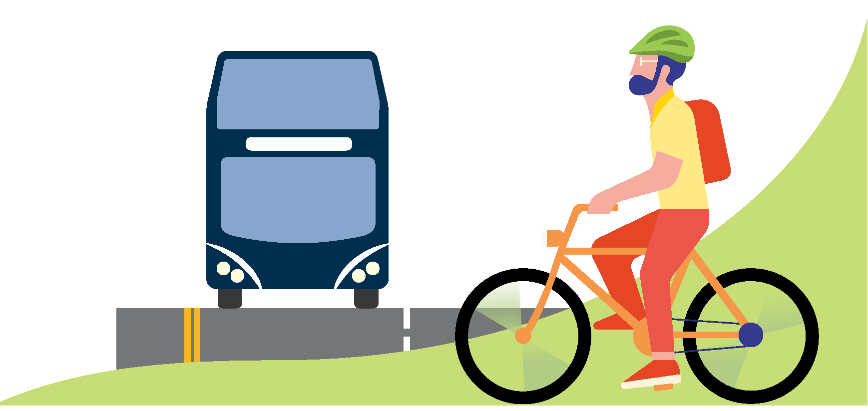 Illustration of a bus and a person riding a bicycle.