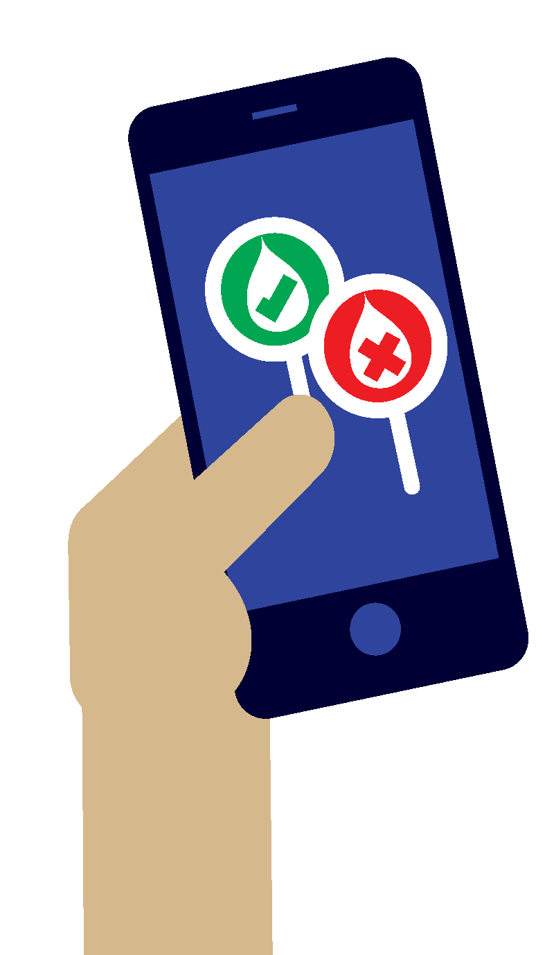 Illustration of a smartphone with tick and cross icons indicating good and bad water quality.