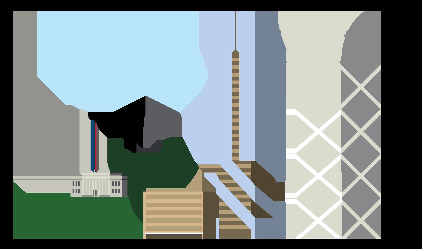 Illustration of Auckland landmarks.