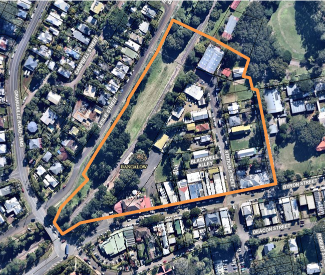 Aerial view of the Bangalow Triangle, the area between the main street and the A&I Hall