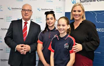 Jorja & Portia with teacher Beth Kunkel and Mayor Jameison at the launch of their commercial