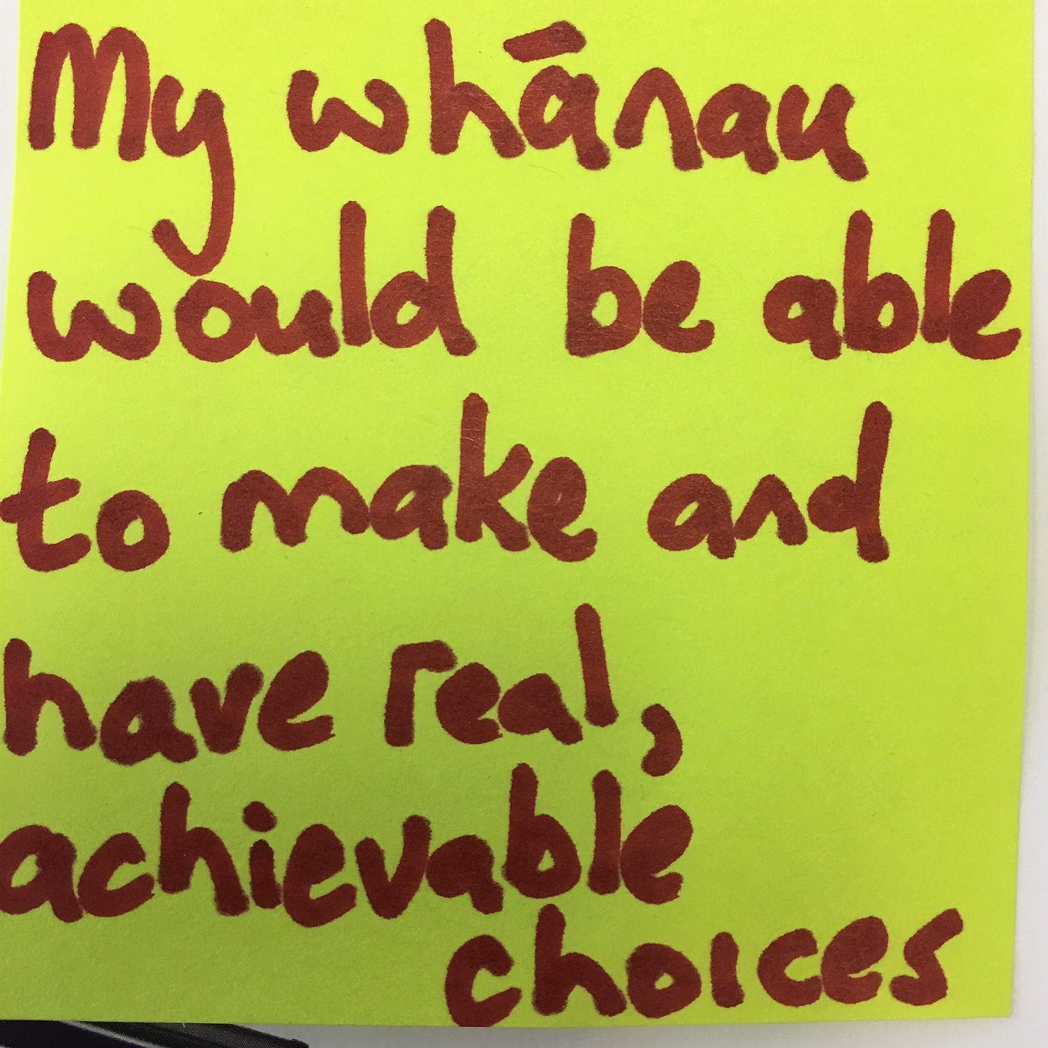 """My whānau would be able to make and have real, achievable choices"""