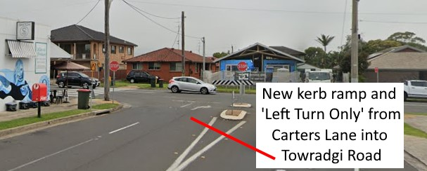 New kerb ramp and 'Left Turn Only' from Carters Lane into Towradgi Road