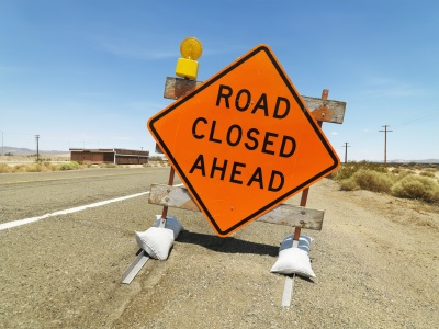Road sign   closure reduced