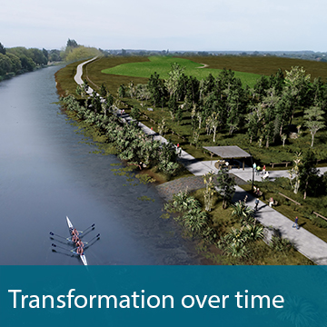 Concept image of the Otakaro Avon River with trees and walkways