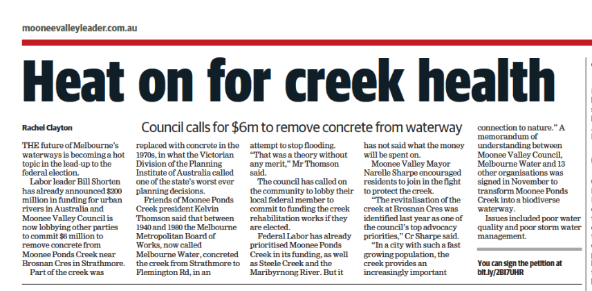 Heat on for creek health