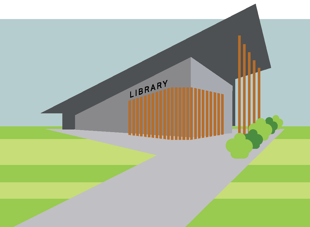 Illustration of a library building.