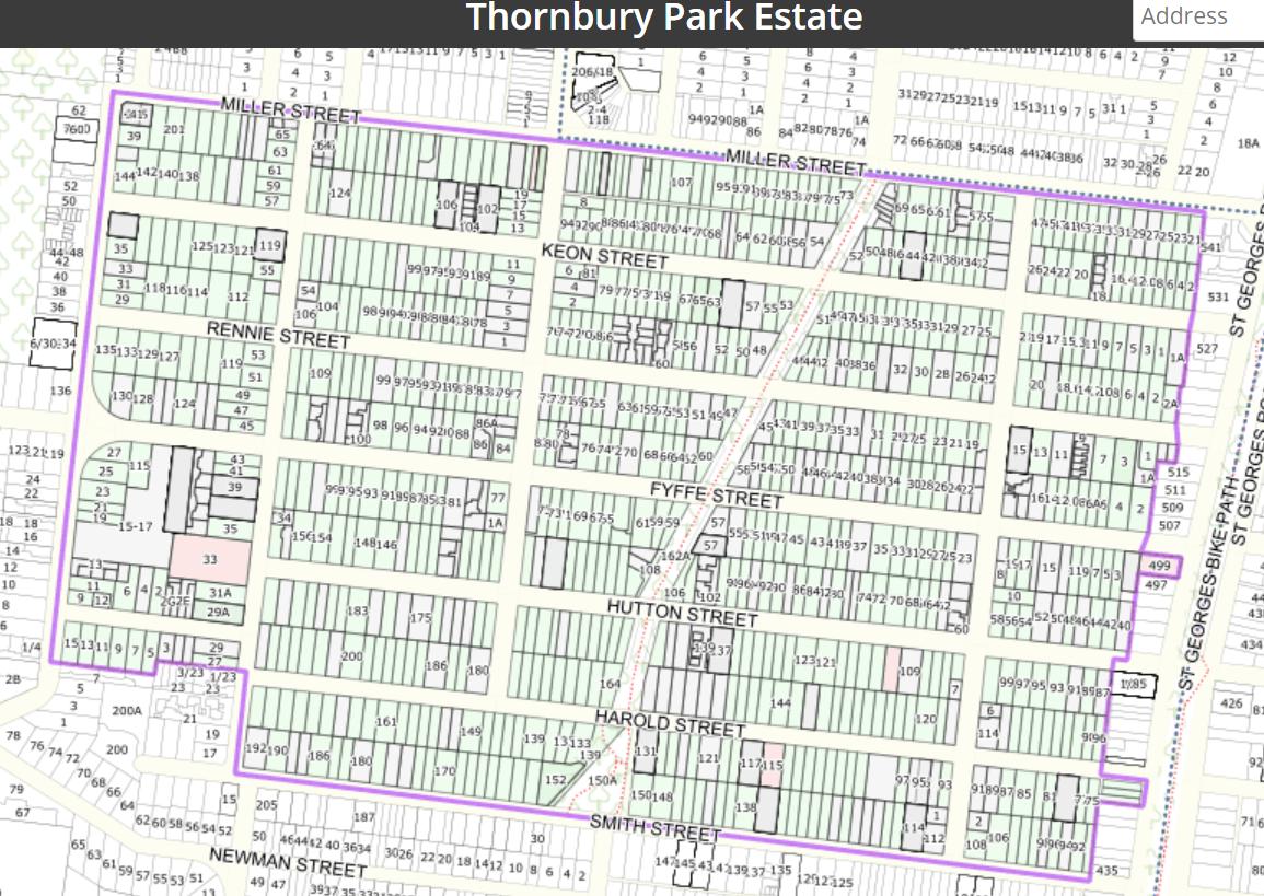 Map of the Thornbury Park Estate Precinct