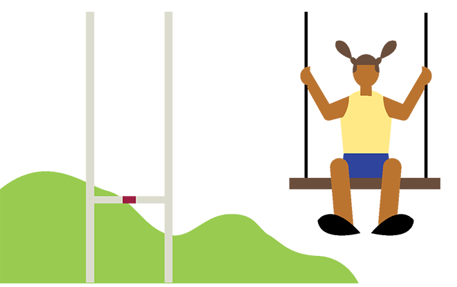Illustration of a child on a swing, rugby pitch and woods in the background.