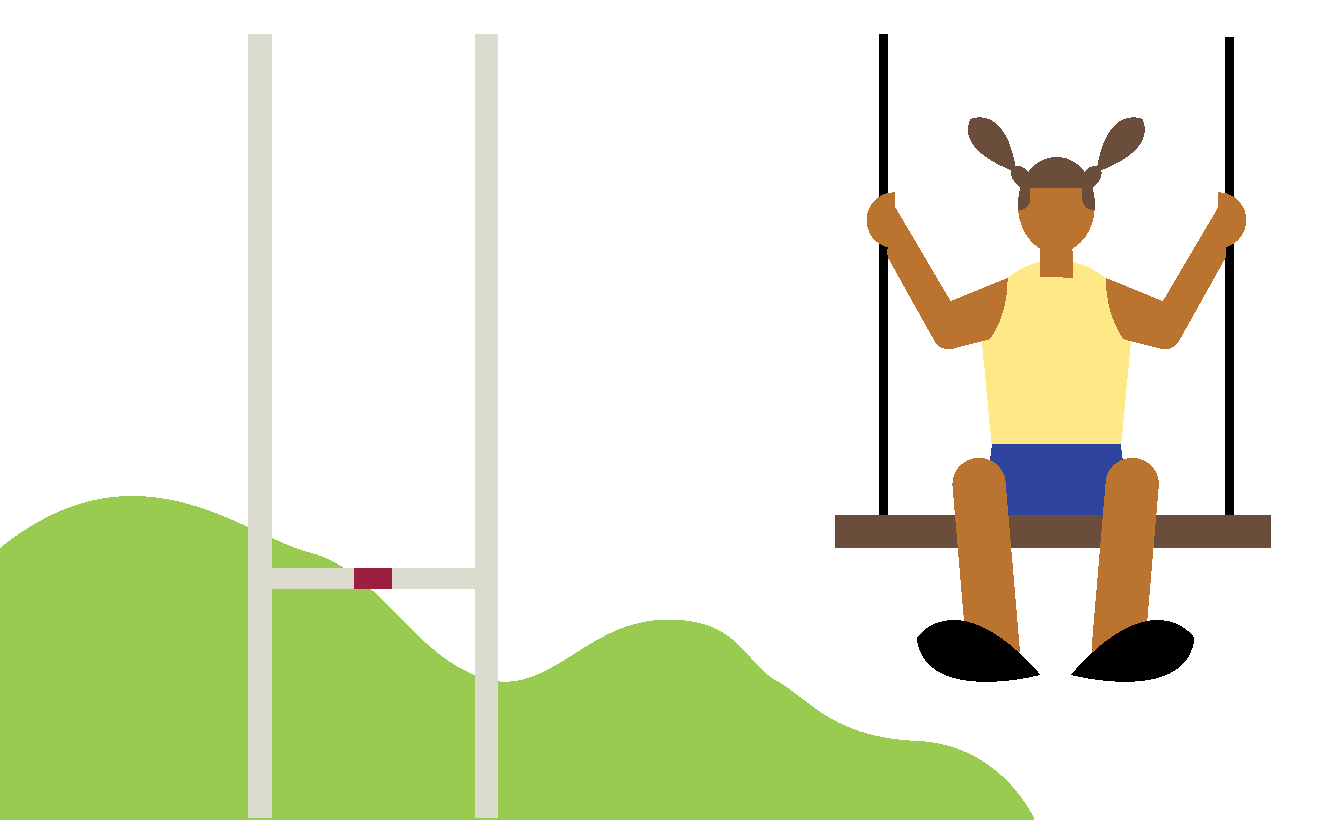 Illustration of a rugby goal, a child on a swing, woods in the background.