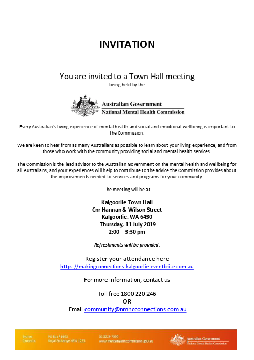 Kalgoorlie nmhc connections invitation