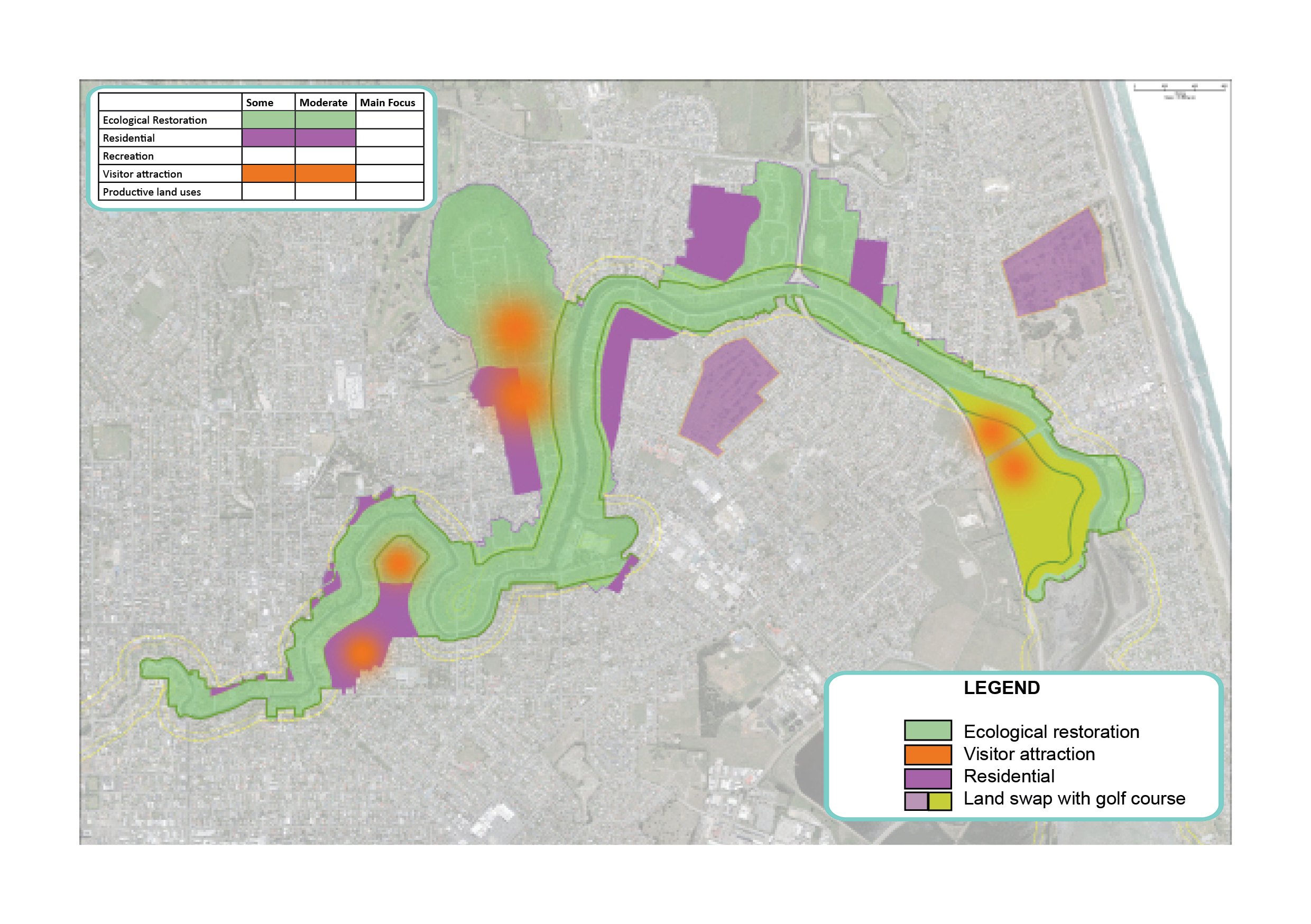 map showing potential areas for residential, visitor attraction and ecological restoration.