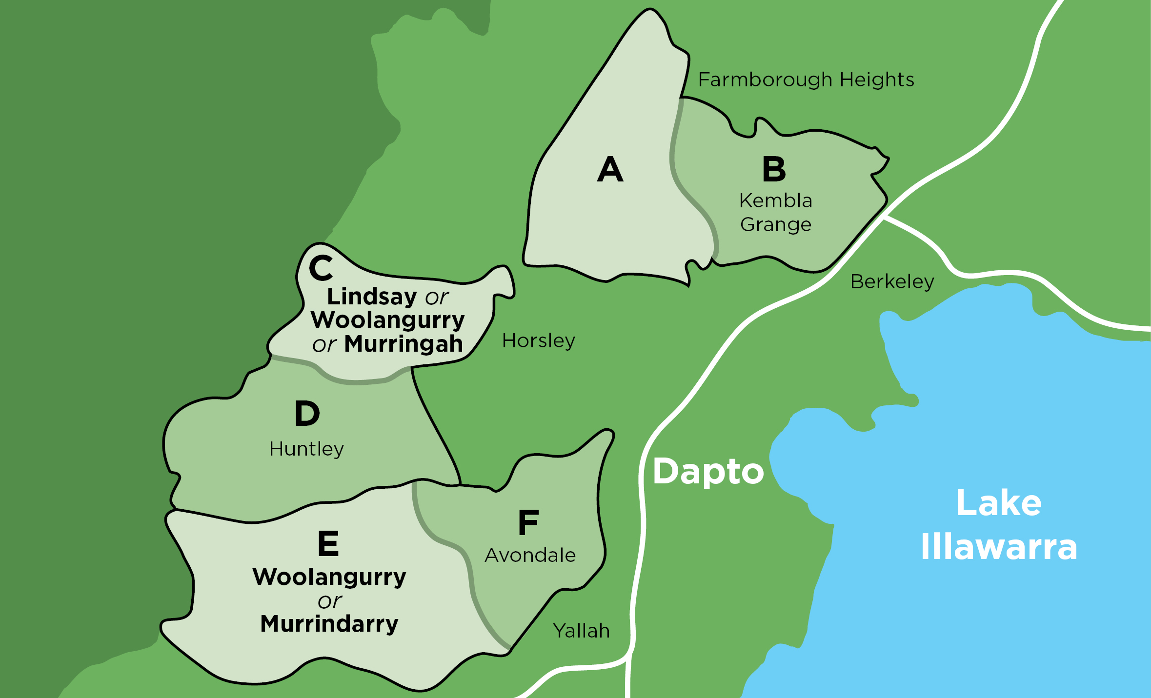 Map of West Dapto with suburbs of Kembla Grange, Avondale and Huntley divided in half. Fill out the feedback forms for Avondale/Huntley and/or Kembla Grange to let us know your thoughts.
