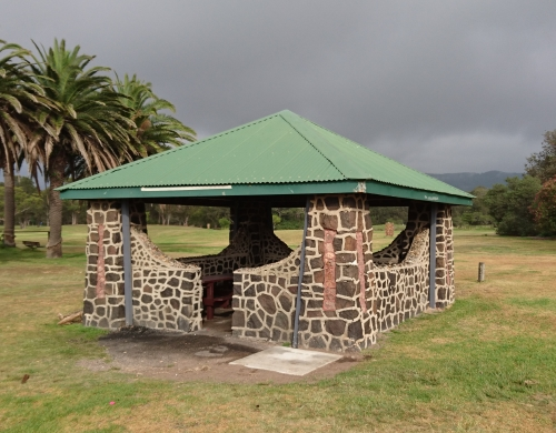 A photo of a stone shelter