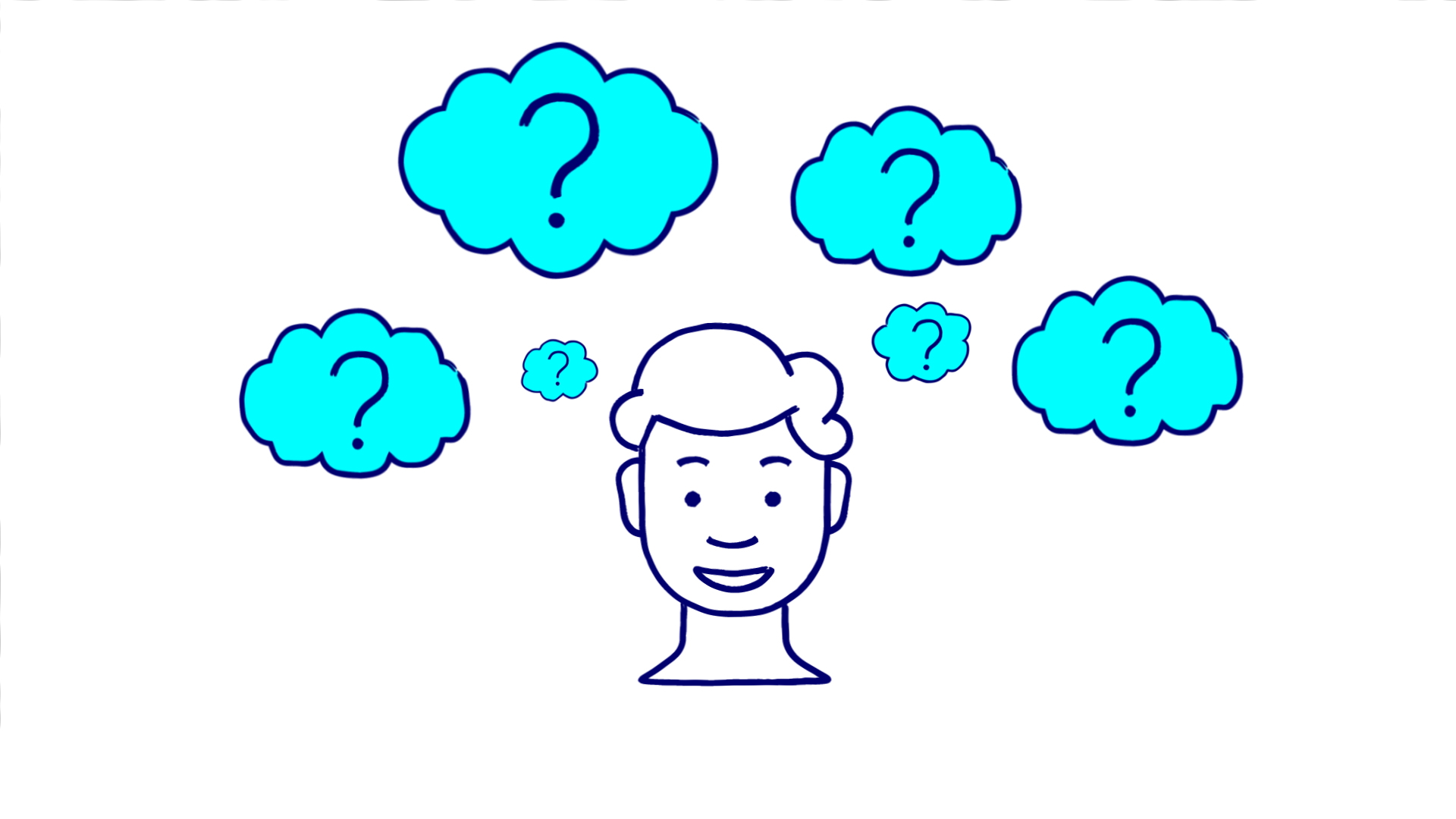Cartoon boy with 6 question mark clouds above head