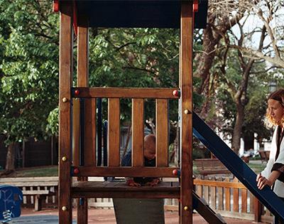 Child in nature playground