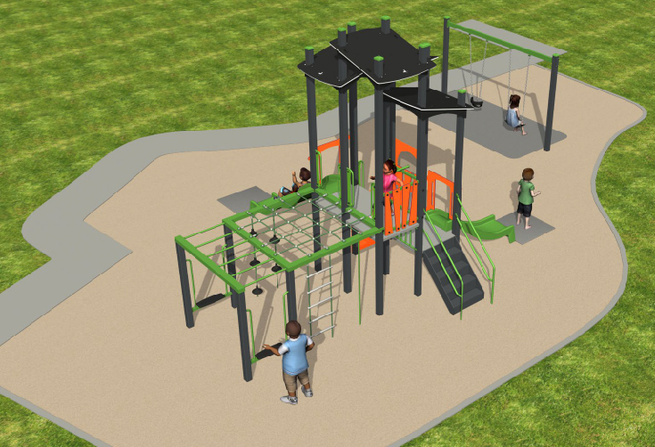 Artist's impression of proposed park upgrade and inclusive playspace at Coral Street Park