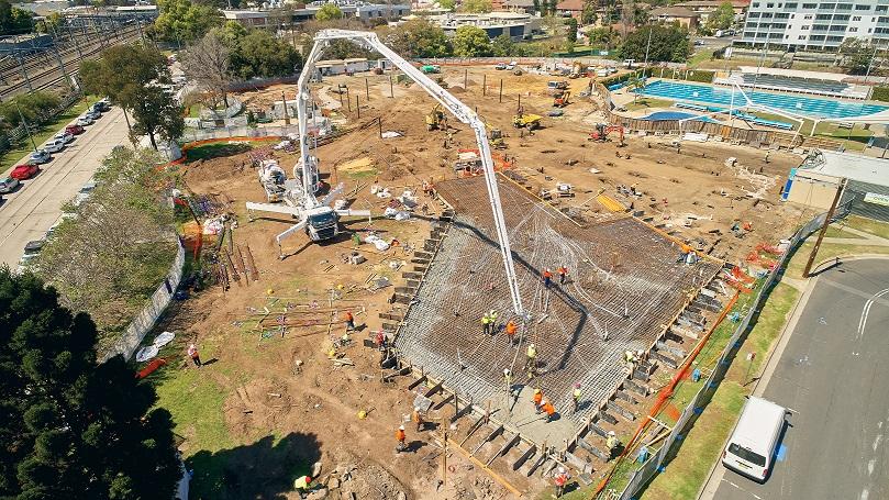 Aerial shot   granville concrete pour