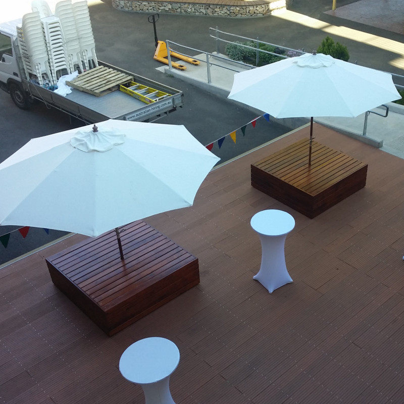 Pods on the Plaza bar tables