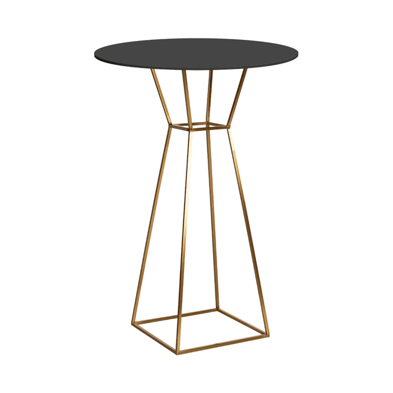 New - Hourglass bar table. Furniture hireHour glass cafe table. Gold frame. various tops
