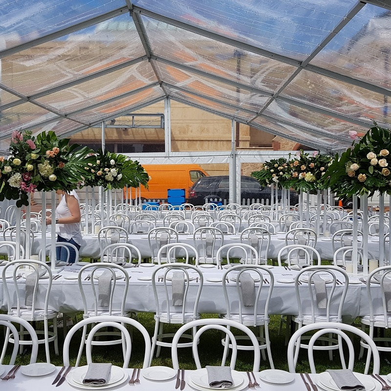 South Australian Museum wedding sunny pavilion white Bentwood chairs