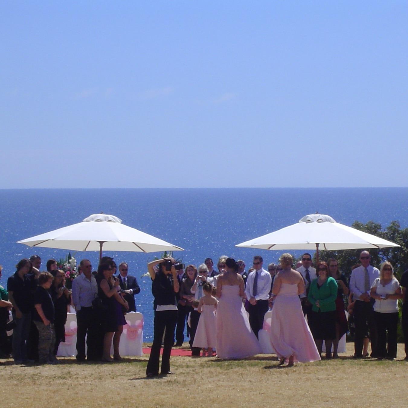 Wedding Hire Adelaide Beach wedding market umbrellas