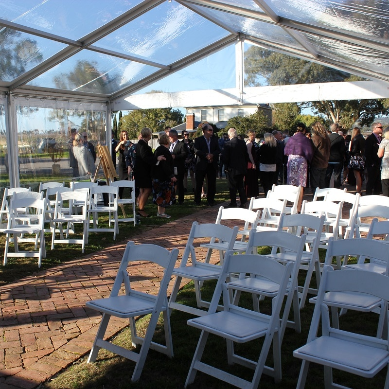 Wedding Hire Adelaide ceremony marquee americana chairs