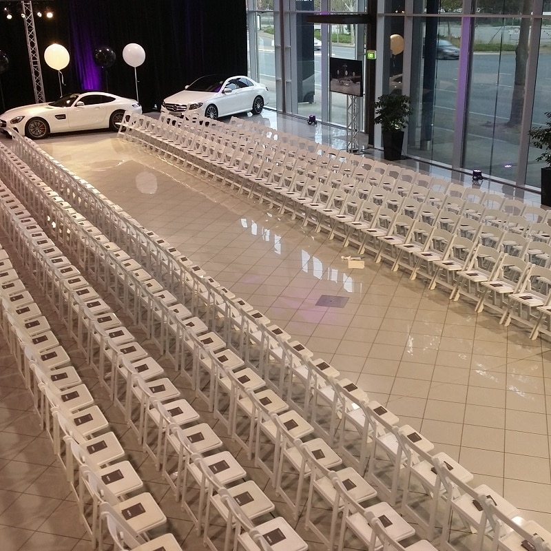 Event hire at Mercedes Benz deallership Adelaideamerciana chairs function