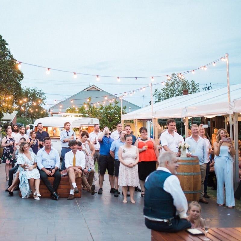 Wedding Hire Adelaide plaza pods wine barrels festoon lighting