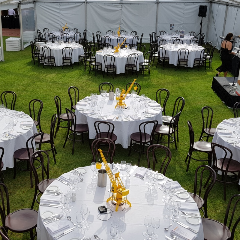 Mueseum SA wedding round tables corporate function bentwood chairs event hire