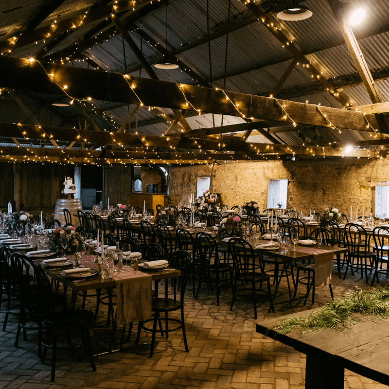 Wedding Hire Adelaide barn wedding bentwood festoon lighting