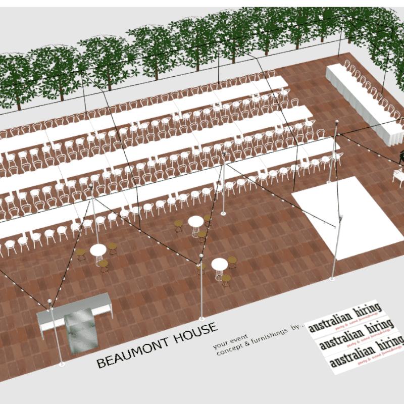 3D design of Beaumont House wedding alfresco dance floor