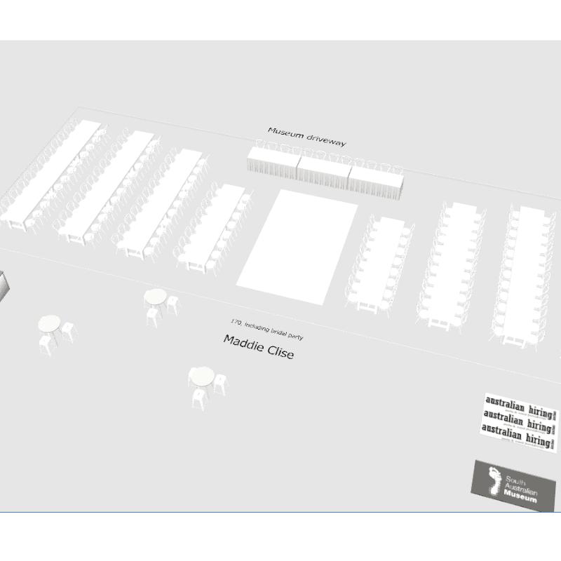 3D design ofwedding template banquet tables