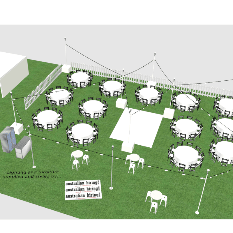 3D design of Museum SA sit down function round tables festoon lighting