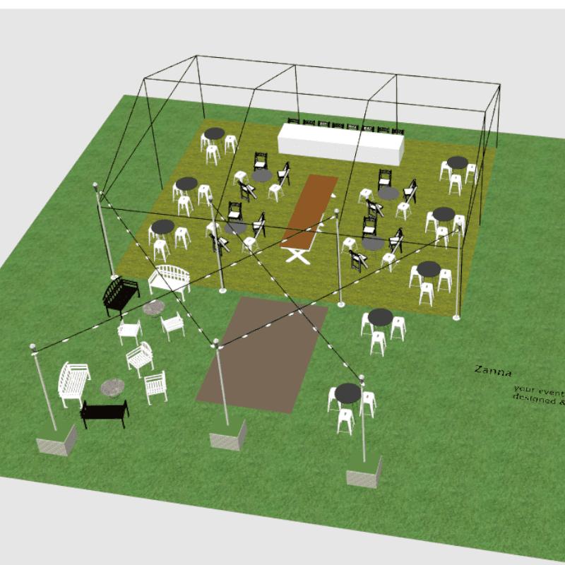 3D design of Cocktail wedding reception bar tables cafe tables